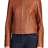 Lauren Ralph Lauren Women's Shirt Collar Leather Jacket