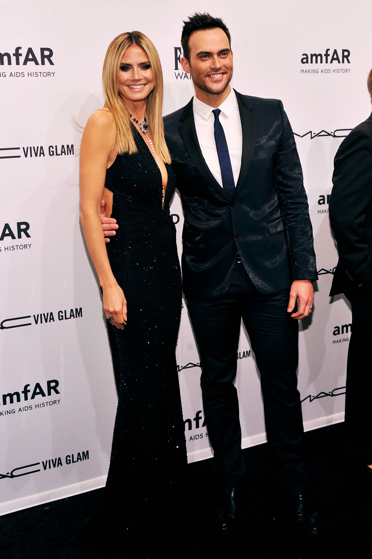 Heidi Klum smiled with Cheyenne Jackson on Wednesday at the amfAR New York Gala.