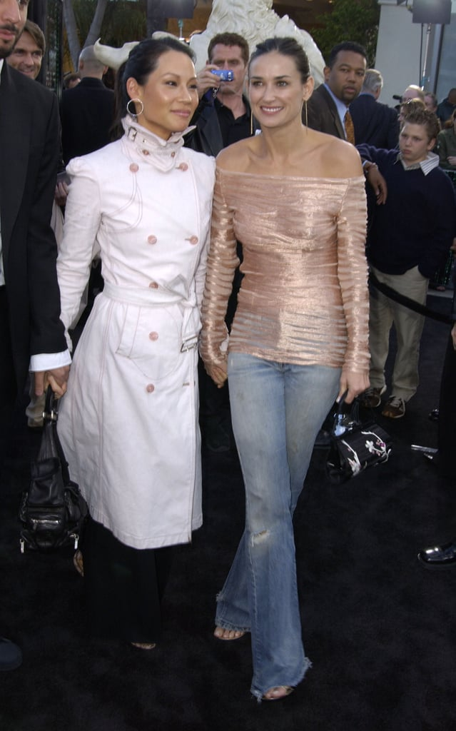 One of our favourite casual looks — glammed-up denim with Lucy Liu at the The Matrix Reloaded premiere in '03.
