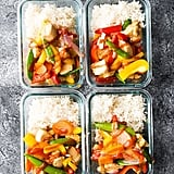 Sweet and spicy chicken and veggies with steamed white rice.