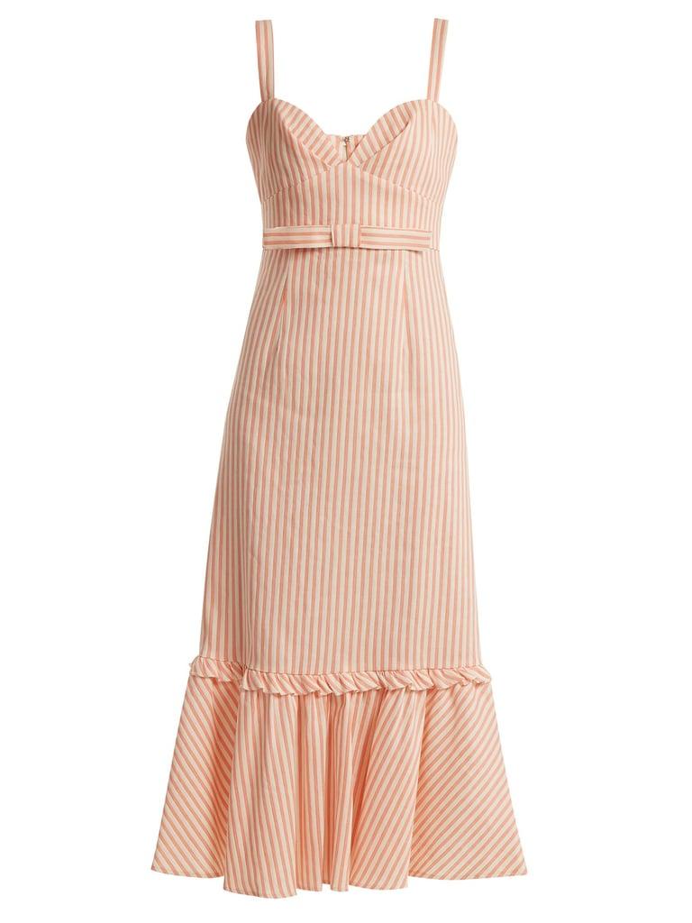 5ca9d9dc06 Luisa Beccaria Bow-Detail Linen-Blend Striped Dress