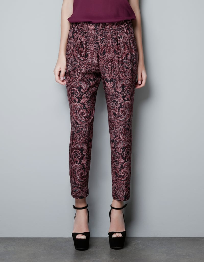 Zara's Printed Trousers ($80) come in a deep burgundy hue that's perfect for the holidays.