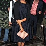 Kerry Washington was ladylike in a fit-and-flare dress and Louis Vuitton checkered clutch at the Jason Wu afterparty during New York Fashion Week.