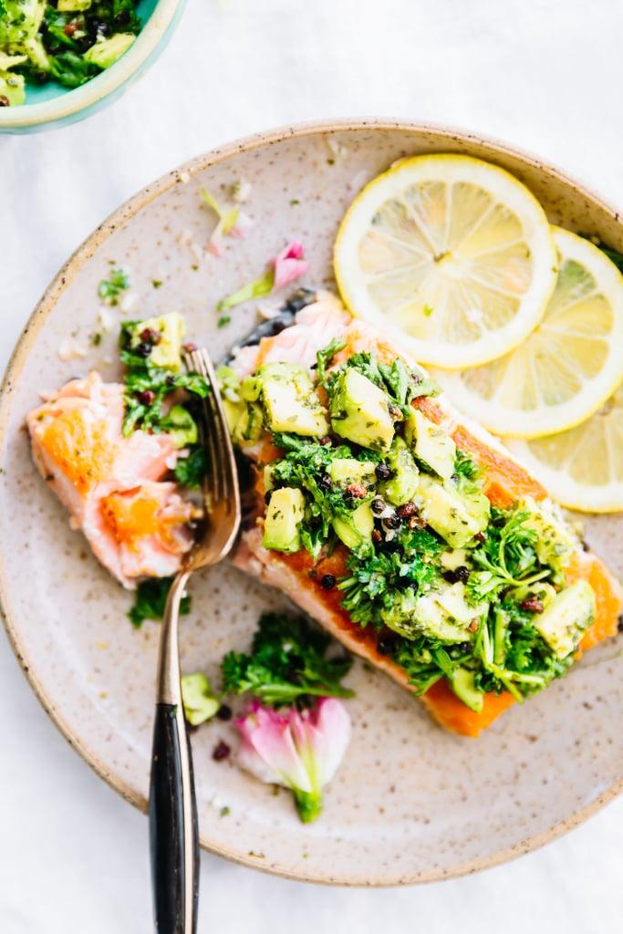Pan-Seared Salmon with Avocado Gremolata