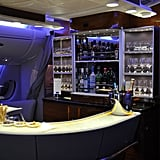 Socialise with fellow passengers at the A380 business-class lounge.