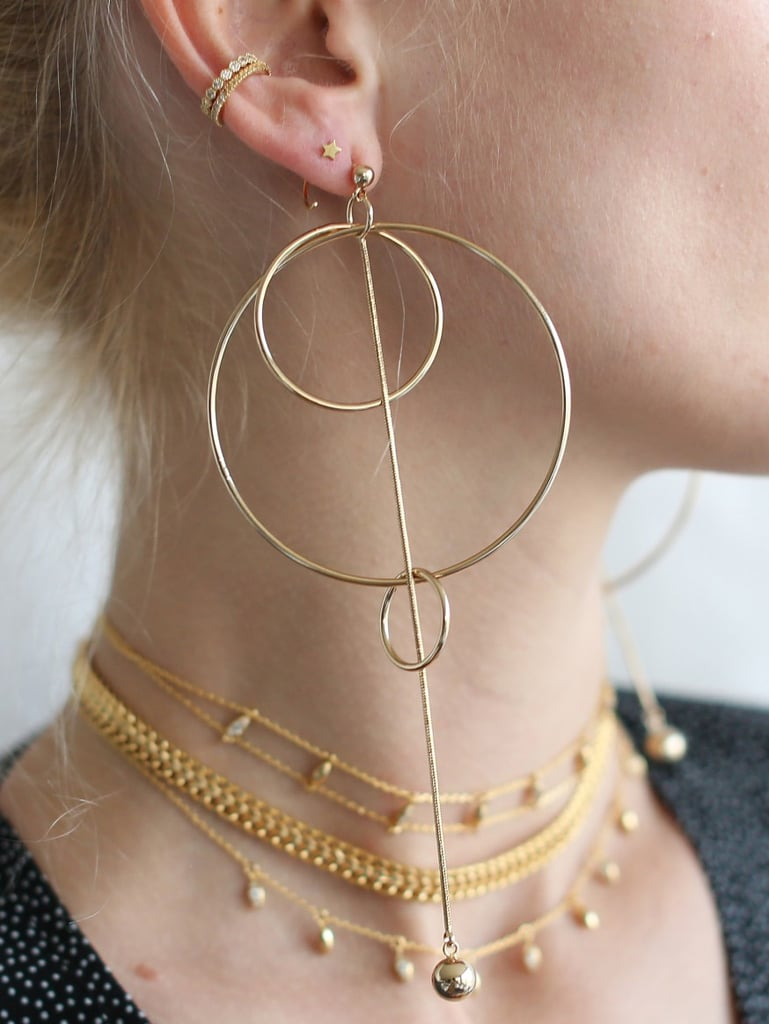 Adornmonde Slate Gold Multi-Hoop Earrings