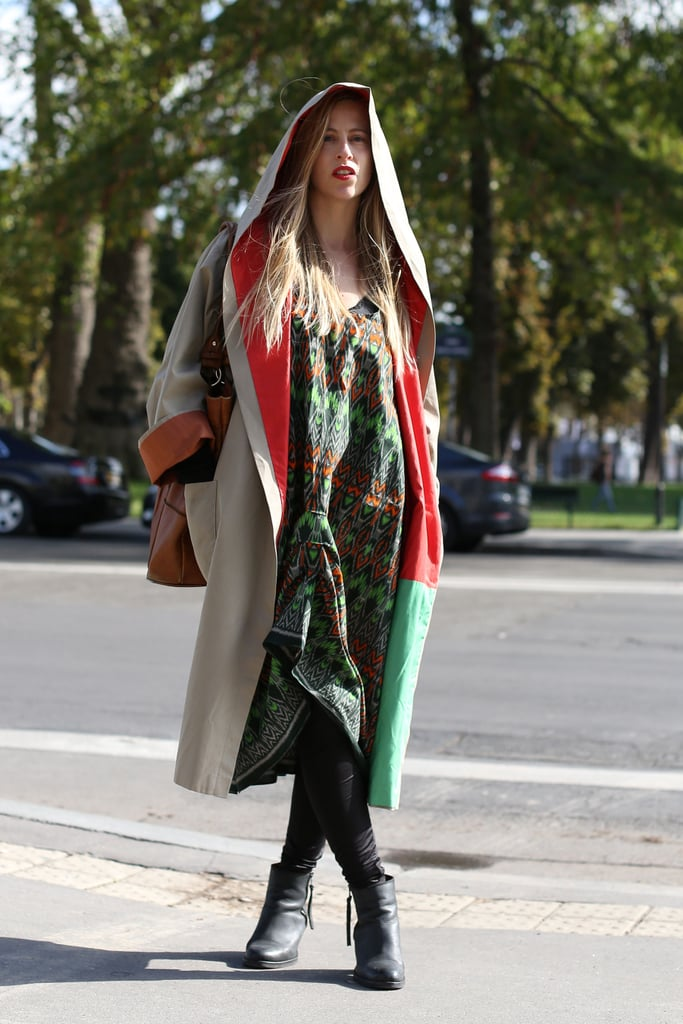 A hooded coat was all the drama this styler needed to complete her printed ensemble.