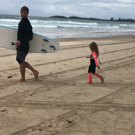 Chris Hemsworth Surfing With Daughter
