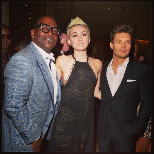 Randy Jackson shared a photo with Ryan Seacrest and Miley Cyrus at a pre-Grammys bash. Source: Instagram user Randy Jackson