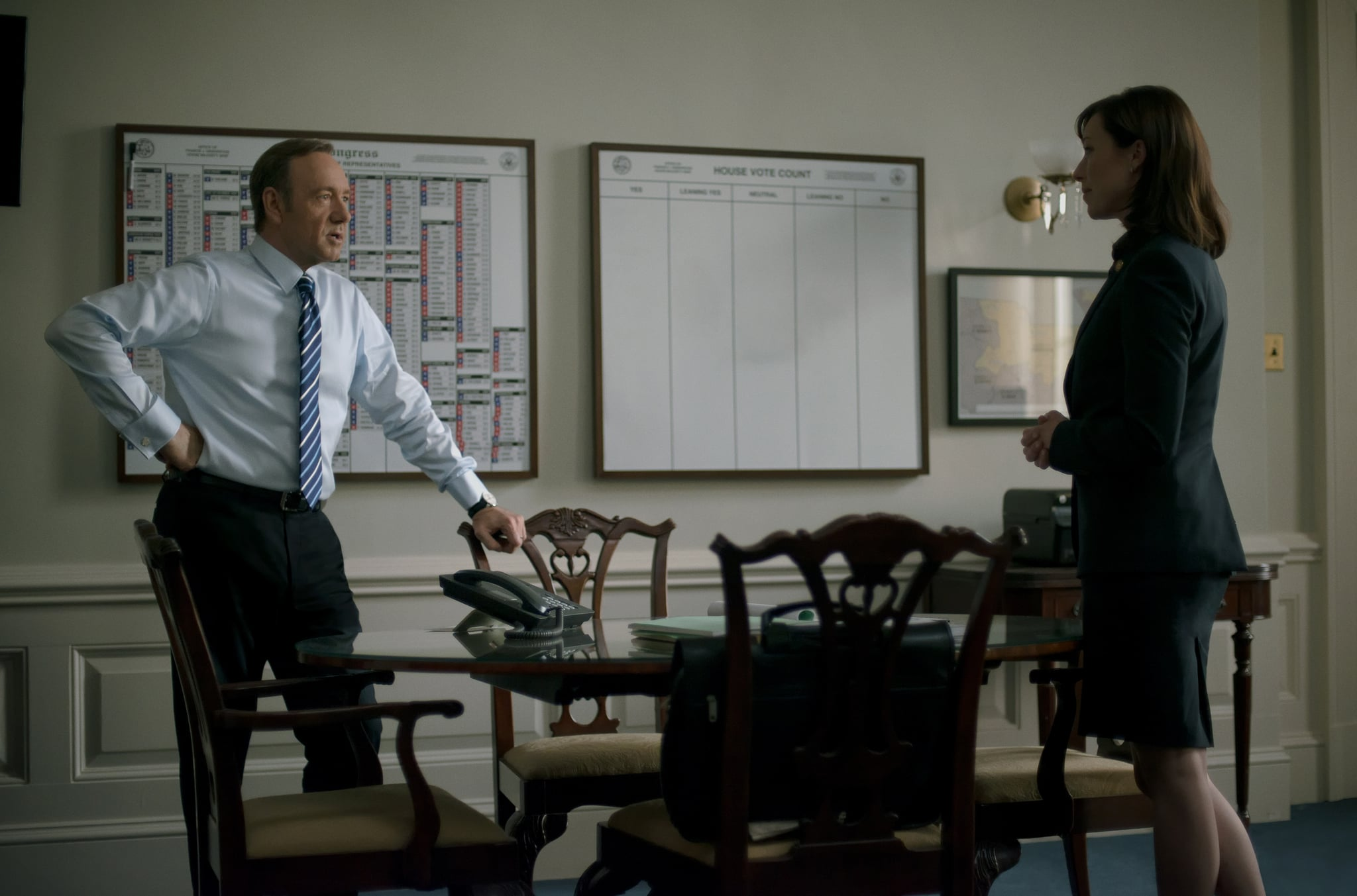 Spacey and Parker on House of Cards. Source: Netflix