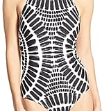 Draw the eyes upward to your smile with a halter-neck swimsuit ($148).