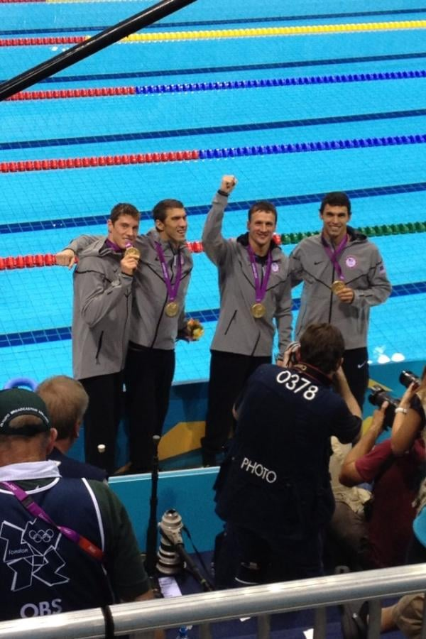 Ryan Lochte, Michael Phelps, Conor Dwyer, and Ricky Berens celebrated their gold medal for the 4 x 200 relay.  Source: Twitter user esqright