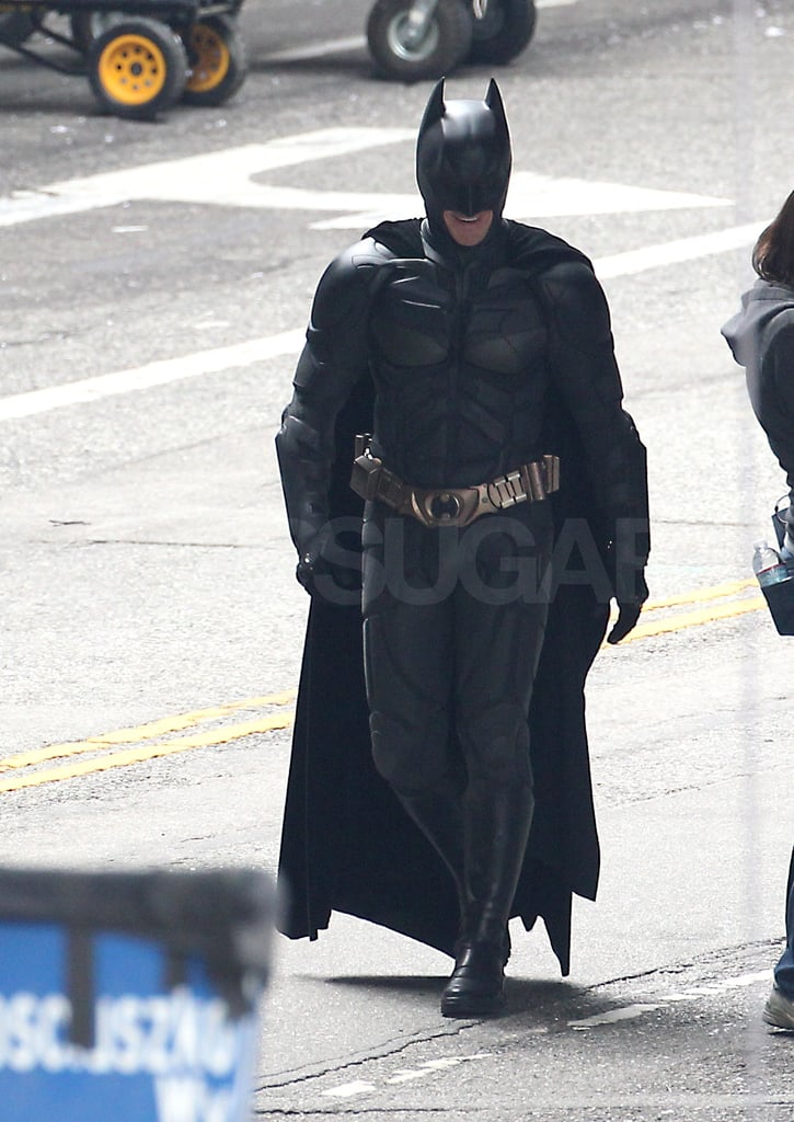 Christian Bale made his way to set in his famous costume.