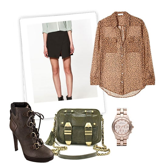This sheer top also boasts a cool pattern that's perfect for adding interest to a staple black miniskirt. Make the look work for day or night by covering up with a leather jacket or blazer and playing it down with booties — avoid overly sexy stilettos.  Equipment Blush Leopard Print Chiffon Signature Shirt ($329), Tory Burch Lawson High Heel Booties ($213, originally $425), Rebecca Minkoff Boyfriend Bag ($295), Marc by Marc Jacobs Blade Crystal Index Watch ($275)