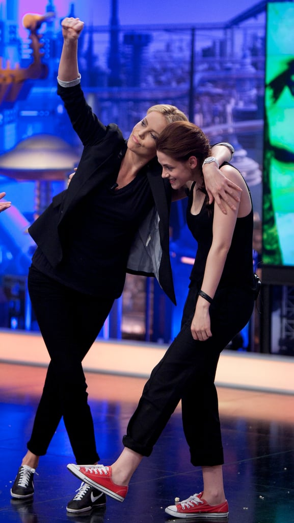 Kristen Stewart and Charlize Theron stopped by the Spanish show El Hormiguero during their trip to the country yesterday. The Snow White and the Huntsman costars were up for a variety of fun tasks including a science experiment that required them to wear eye protection and gloves. Their time in Spain wasn't all goofy though, since Kristen and Charlize dressed up for a more serious appearance in Madrid. Kristen's time in front of the cameras will continue when she arrives at the Cannes Film Festival to promote On the Road soon. The festival is already underway and there have been plenty of stars hitting the glamorous red carpet, including Eva Longoria, Diane Kruger, and Marion Cotillard.