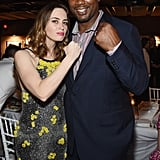 Emily Blunt joked around with boxer Lennox Lewis at a party in Miami.