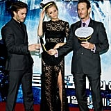 Brooklyn Decker, Peter Berg, and Taylor Kitsch in South Korea.