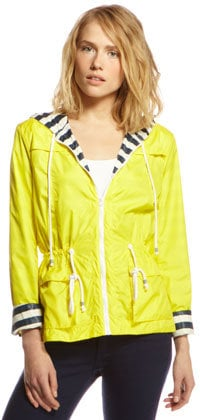 When you're hanging on a yacht, there's always a small chance of a chill. You'll be cozy and bright in this sleek rain slicker — and the striped lining and rope drawstring give an obvious nod to the sailing life. Splendid Drawstring Rain Slicker ($198)