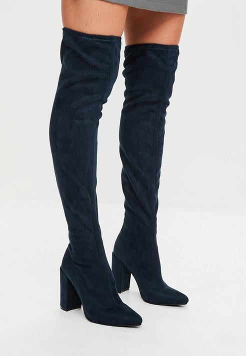 Missguided Navy Pointed Faux Suede Over-The-Knee Boots