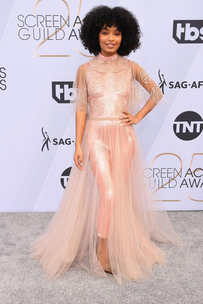 Image result for sag awards 2019 dress yara shahidi