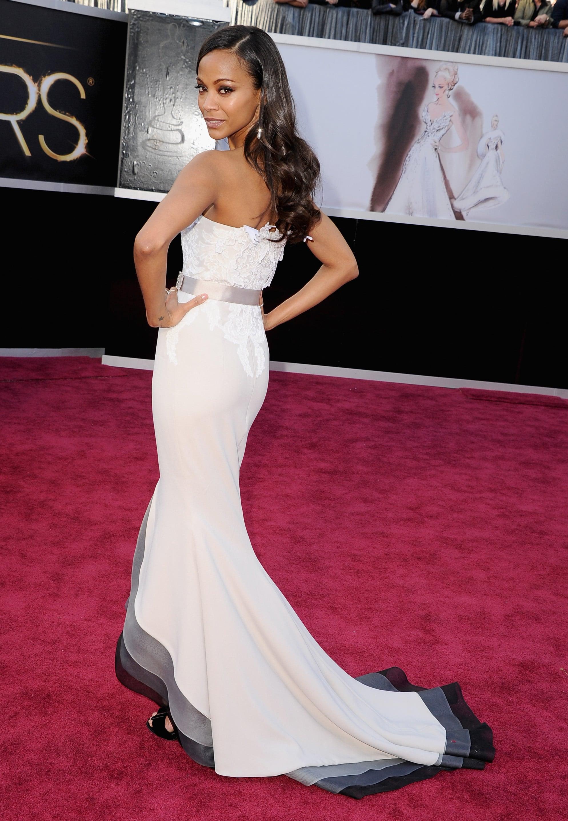 Zoe Saldana on the red carpet at the Oscars 2013.