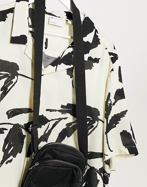 ASOS Design Revere Abstract Leaf Print Shirt in Ecru