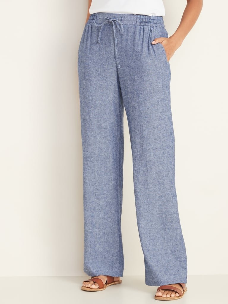 Old Navy Mid-Rise Wide-Leg Linen-Blend Pull-On Pants in Chambray Blue