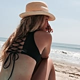 Gigi Getting Strappy in This Black Lace-Up Bikini
