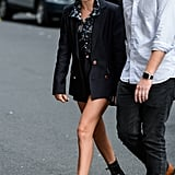 Millie Bobby Brown in a Navy Blazer Short Set in 2017