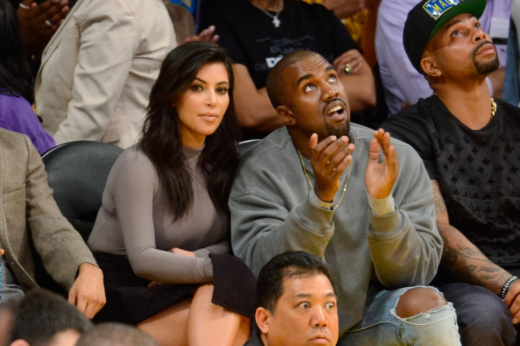 Forget about Paris — Tuesday night's game between the Lakers and the Rockets in LA was clearly the best place for famous lovers. Kim Kardashian and Kanye West were spotted watching the game from their courtside seats, with Kanye keeping his hand on his wife's knee. Meanwhile, newlyweds Adam Levine and Behati Prinsloo couldn't keep their hands off of each other as they took in the game, and Gerard Butler showed PDA with his mysterious new girlfriend. Despite all the celebrity pairs, the game wasn't just for couples. Longtime Lakers fans Will Ferrell and Jack Nicholson were spotted in the stands, with Jack joking around during the match with his son, Ray Nicholson.  Kim's courtside stop comes hot on the heels of a busy week for the reality star. She recently jetted off to San Francisco with Kanye to speak at a tech conference about her gadget habits and the success of her addictive iPhone game. And last week, Kim was on the road again to celebrate her 34th birthday with her family in Las Vegas.