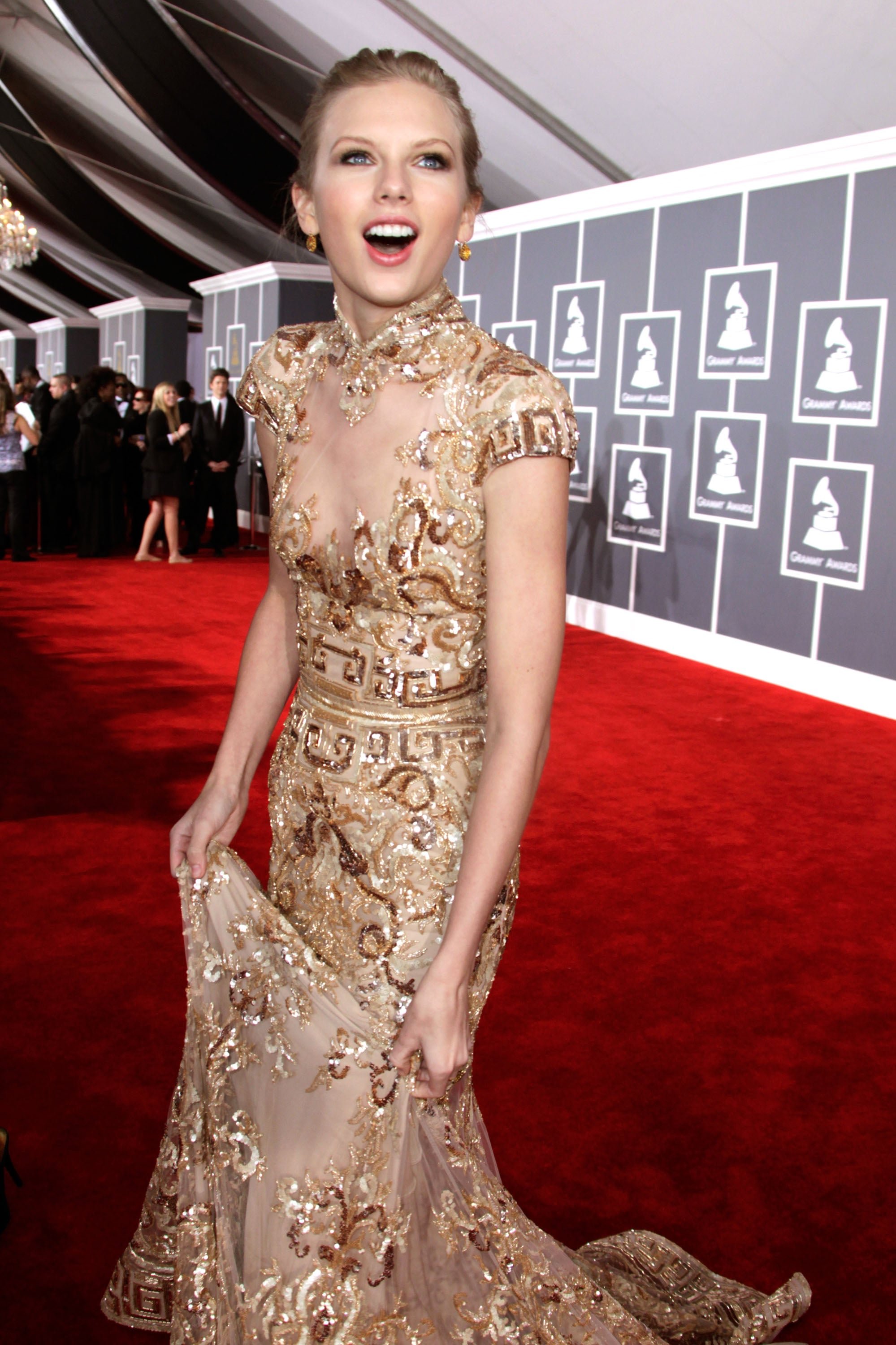 She expressed her happiness on the red carpet at the Grammys in February 2012.