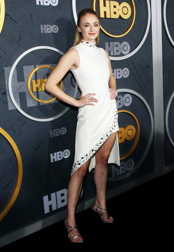 sophie turner stuns at the emmys afterparty in a white dress