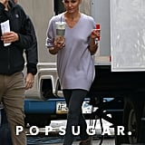 Cameron Diaz left her NYC trailer on Tuesday while on location for The Other Woman.