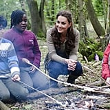Kate Middleton had a campfire with children from Expanding Horizons' primary school outdoor camp.