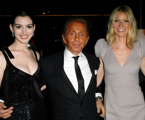 "Photo of Anne Hathaway, Gwyneth Paltrow and Valentino at the West Coast screening of his film ""Valentino: The Last Emperor"""