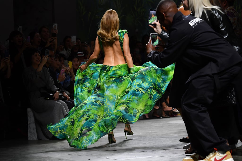 Jennifer Lopez Wore a New Green Dress on the Versace Runway