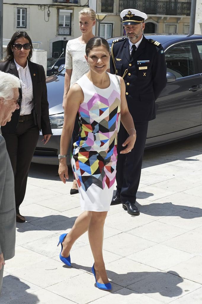Crown Princess Victoria of Sweden wearing Preen.