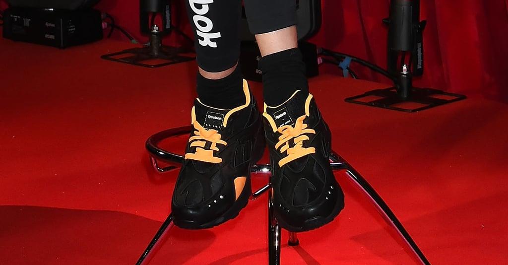 "Gigi Hadid Yellow and Black Reebok Sneakers 2018 POPSUGAR ""title = POPSUGAR"