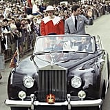 Prince Charles and Princess Diana waved to the crowds while riding through Edmonton, Canada, in 1983.