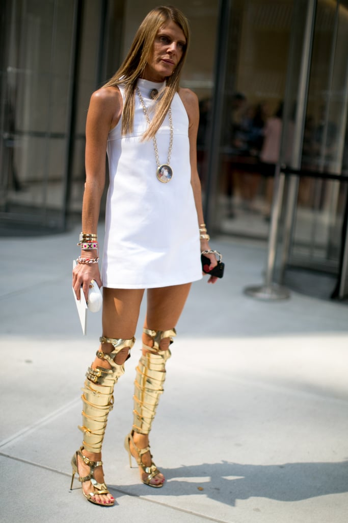 Anna Dello Russo's LWD may have been demure, but those Tom Ford gladiator boots were anything but.
