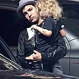 Pete Wentz and son, Bronx, at Jessica Simpson's baby shower.