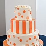 Modern meets mod in a playful orange cake.