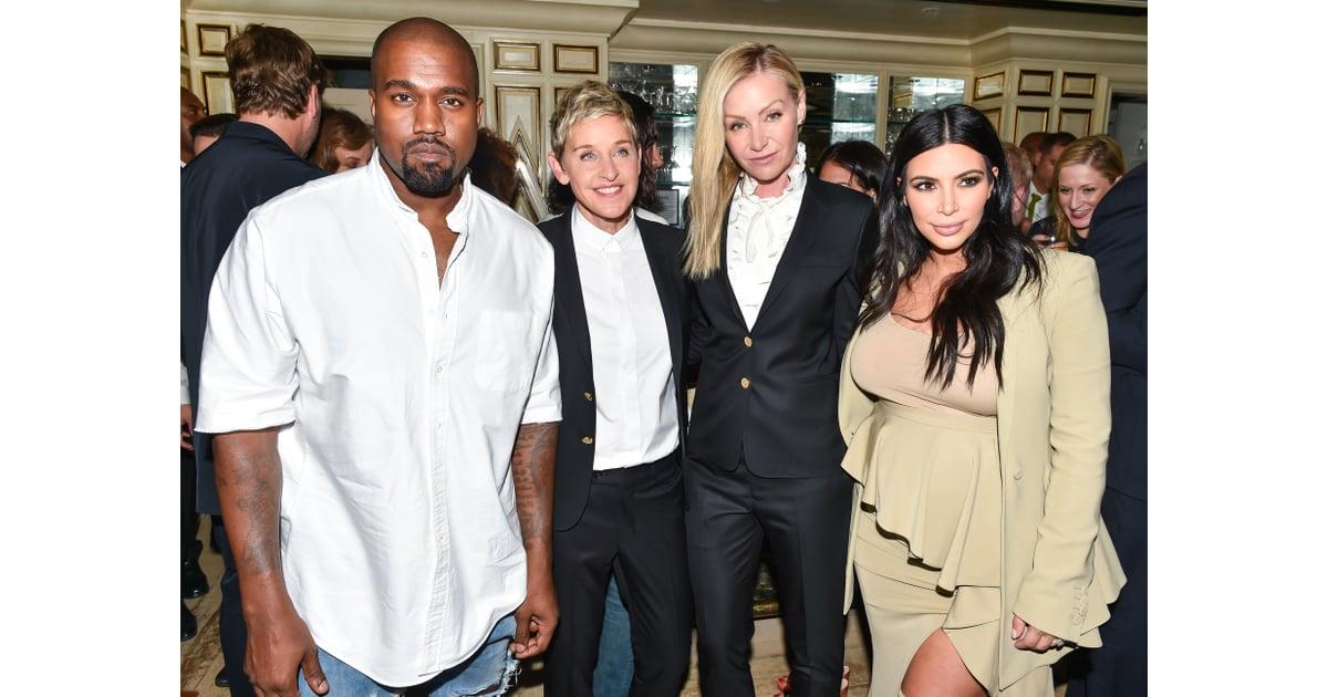 Kanye West, Ellen DeGeneres, Portia de Rossi, and Kim ...