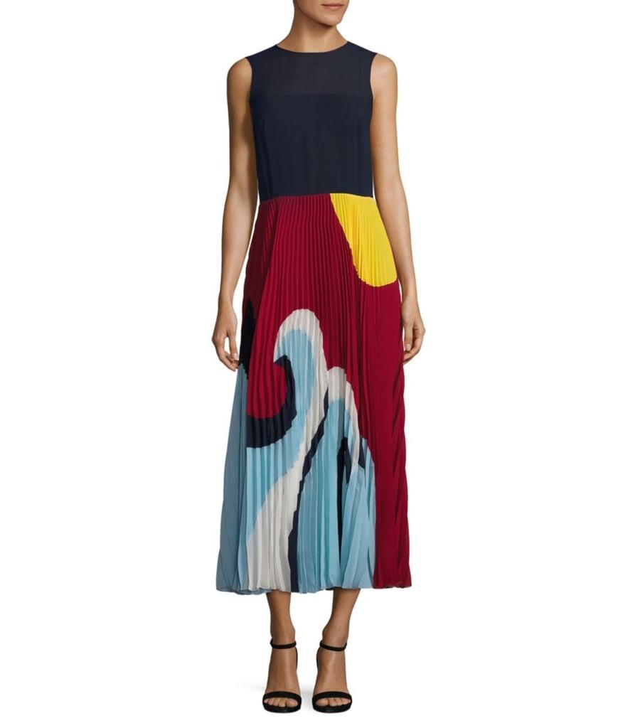 0492507567 RED Valentino Beach Pleated Midi Dress