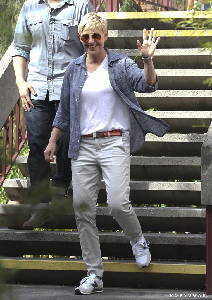 Ellen DeGeneres waved at fans.