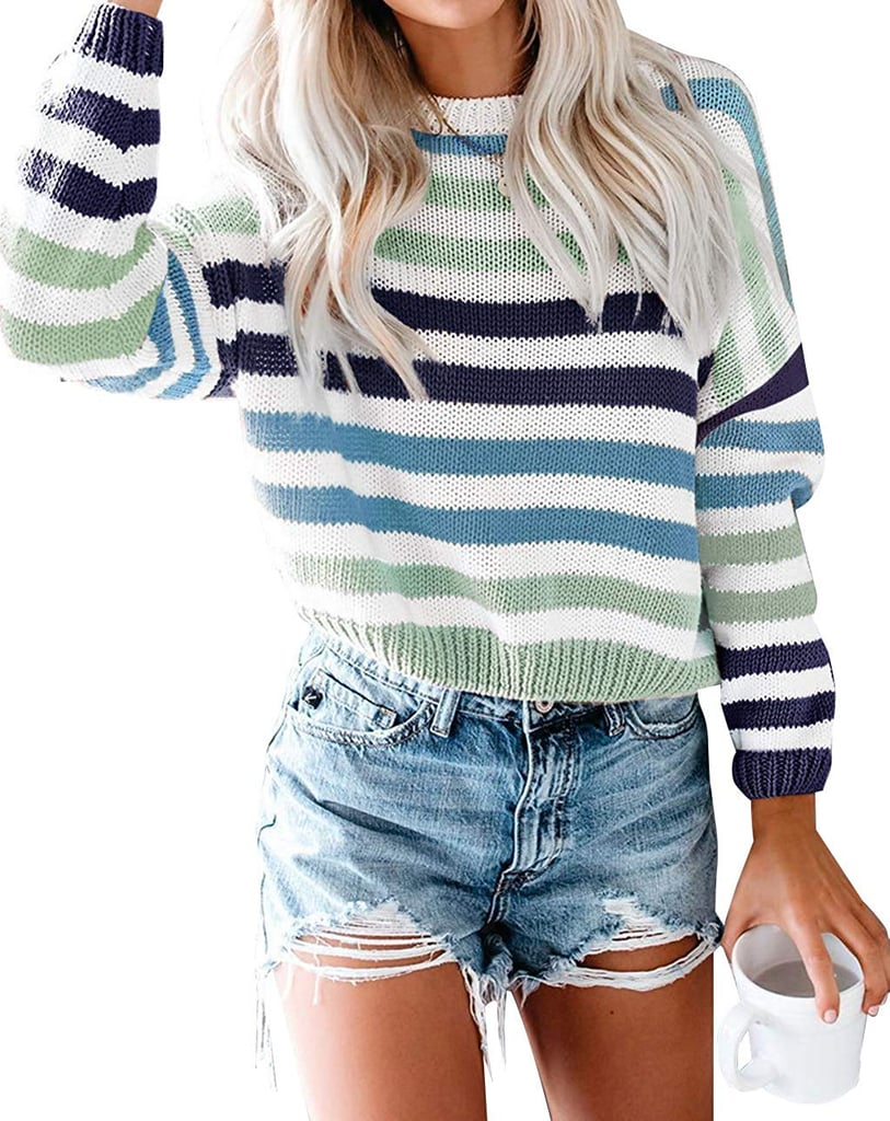 Zesica Long-Sleeved Crew-Neck Striped Sweater