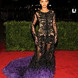 Beyoncé looked jaw-droppingly gorgeous at the 2012 Met Gala in this Givenchy couture gown, which was embellished with hundreds of crystals and featured a huge feather train. It was her first public appearance since giving birth to Blue Ivy — can we get a round of applause?