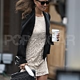 Pippa Middleton has her hair blown in the wind.