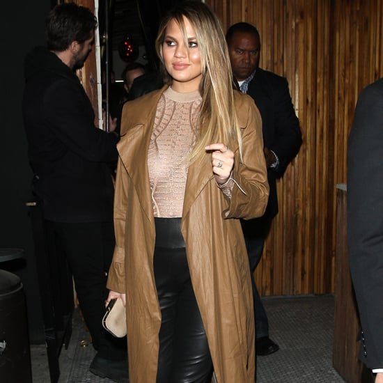 Chrissy Teigen Leather Pants and Trench Coat April 2016