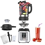 The blender comes with plenty of helpful accessories, including a measuring cup, a gizmo to help push chunky objects toward the blades, a cleaning brush, and a machine-washable cheesecloth bag.